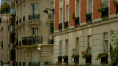 Tilt on parisian building - stock footage