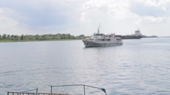 River ship sailed from the shore with passengers Stock Footage