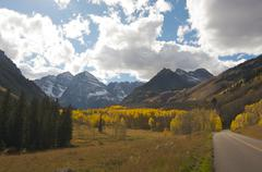 Road to Maroon Bells and Maroon Lake in Aspen Colorado - stock photo