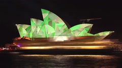 Opera House Sydney Harbour Australia establishing shot - Vivid Light Festival Stock Footage
