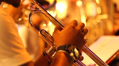 Street orchestra with wind musical instruments Stock Footage