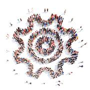People in the shape of gears Stock Illustration
