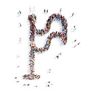 people in the shape of a flag - stock illustration