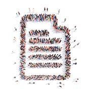 people in the shape of a sheet  paper, writing - stock illustration