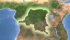 Congo Kinshasa on maps. Neighbourhood. Set of animations. Stock Footage