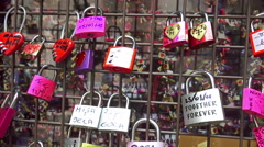 4k colored locks of love in the gate of the House of Romeo and Juliet in Vero Stock Footage