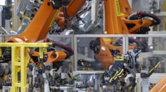 Robotic arm - industrial production - product assembly Stock Footage