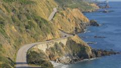 California State Route 1, Big Sur, from above (zoom in) Stock Footage