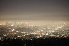 Night Fog Los Angeles - stock photo