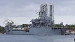 Port View - Brazil Navy logistic cargo ship - Almirante Saboia 3 of 3 Stock Footage