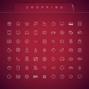 Shopping Thin Icons Set - stock illustration