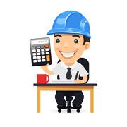 Engineer Cartoon Character with Calculator Stock Illustration