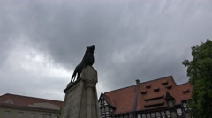 4k Braunschweig lion monument and clouds time-lapse Stock Footage