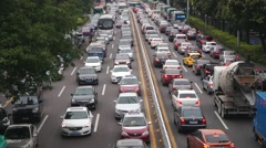 Urban road traffic congestion, in Shenzhen, China Stock Footage