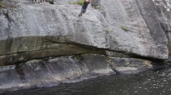 Slowmotion Cliff Dive Stock Footage