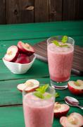 Nectarine smoothie with mint - stock photo