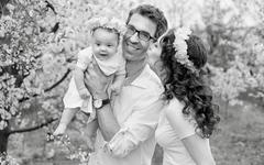 Black&white portrait of a happy family - stock photo