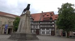4k Braunschweig lion monument city center time-lapse Stock Footage