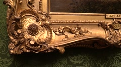 Precious frame of a painting by Raphael . signature Stock Footage