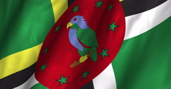 Dominica waving flag 4K Stock Footage