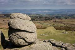 View from the granite slopes of Haytor Rocks Stock Photos