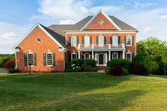 Front elevation large single family home - stock photo