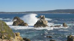 Wave breaking on rocks, Point Lobos, California Stock Footage