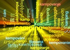 Stock Illustration of Camping multilanguage wordcloud background concept glowing