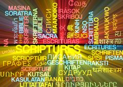 Scriptures multilanguage wordcloud background concept glowing Stock Illustration