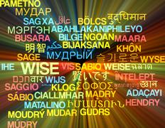 Wise multilanguage wordcloud background concept glowing - stock illustration