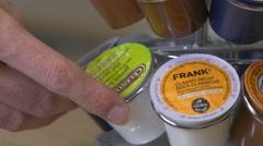 4K Choosing Coffee Keurig Pods Package - K-Cup Stock Footage