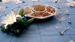 Professional Catering table Stock Footage