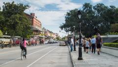 Tourists Walking on Decatur St New Orleans French Quarter Stock Footage