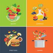 Stock Illustration of set of flat design concept for food