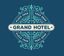 vintage logo template, Hotel, Restaurant, Business or Boutique I - stock illustration
