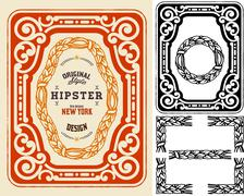 Retro card with design elements. Organized by layers. - stock illustration