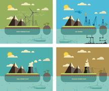 Ecology Concept. Environment, Green Energy and Nature Pollution Designs. Nucl - stock illustration