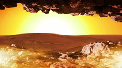 213 Mars Sunset from Cave with Fog, 4K Stock Footage