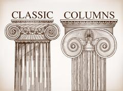 Classical column background set Stock Illustration