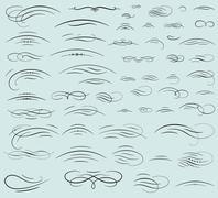 Set of calligraphic swashes and flourishes Stock Illustration