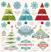 Christmas decoration design elements. Merry Christmas and happy holidays wish - stock illustration