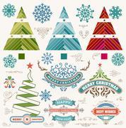 Christmas decoration design elements. Merry Christmas and happy holidays wish Stock Illustration