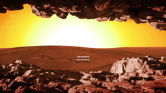 216 Mars Colony at Sunset from Cave, 4K Stock Footage