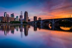 Sunset over the Minneapolis skyline and Mississippi River, in Minneapolis, Mi - stock photo