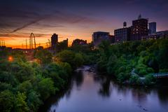Sunset over the Mississippi River and Marcy-Holmes, in Minneapolis, Minnesota - stock photo