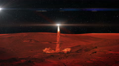 220 Mars Colony Rocket Take Off at Night from Cave, 4K Stock Footage