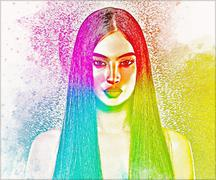 Abstract image of brunette woman with long straight hair. - stock illustration