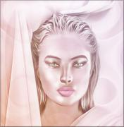 Soft pink abstract, close up face of a woman. - stock illustration