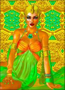 Egyptian queen adorned with gold jewelry. - stock illustration