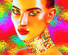 Exotic beauty, a digital art creation of a seductive woman's face Stock Illustration